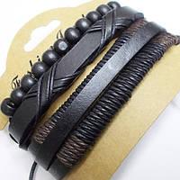 Набор кожаных браслетов фенечек 3 штуки. Кожа, текстиль, дерево., фото 1