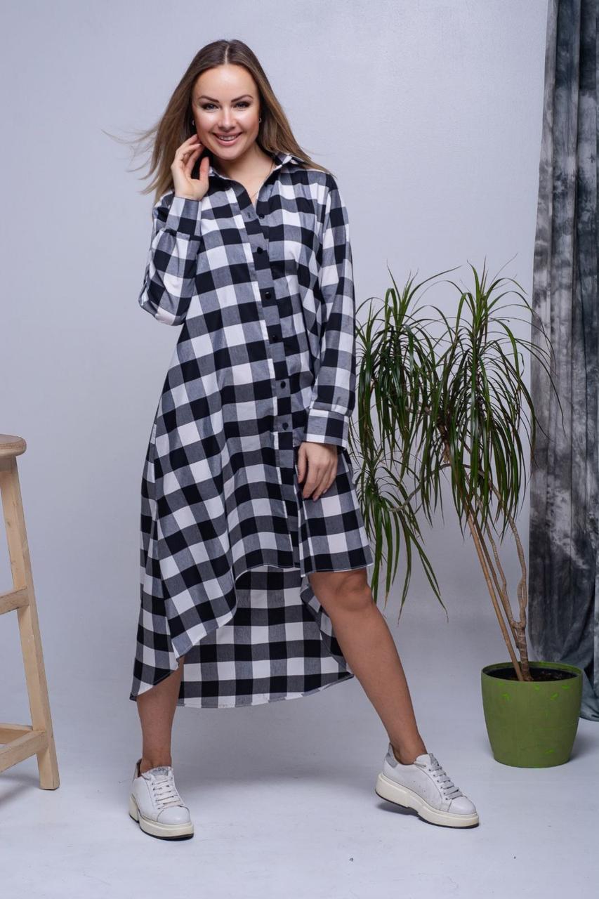 Женское длинное платье-рубашка свободного кроя 42-46 р