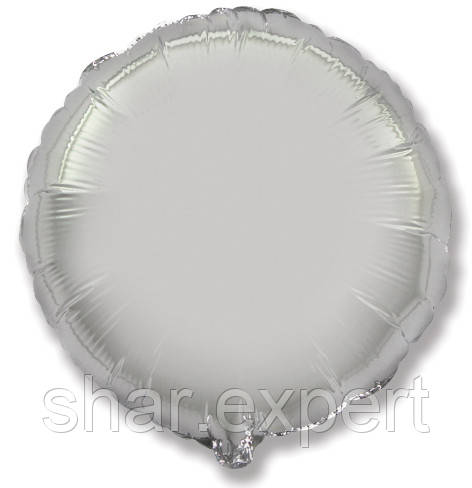 Фольгированный шар (32''/81 см) Круг, Серебро, 1 шт.