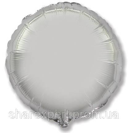 Фольгированный шар (32''/81 см) Круг, Серебро, 1 шт., фото 2