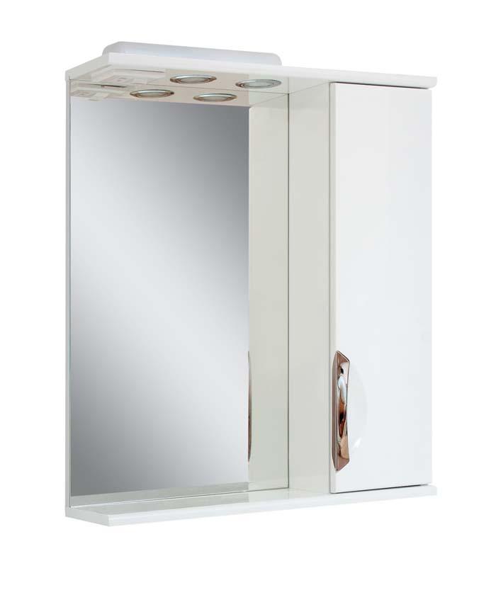 Зеркало для ванной комнаты Альвеус 55-01 Врезная ручка правое ПИК