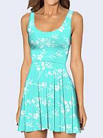 Женское 3D  Платье Белые цветочки
