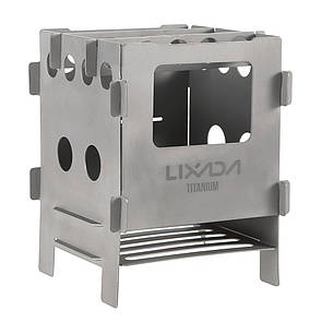 Туристическая титановая щепочница LIXADA. мини печь (печка) Titanium. Титанова щепочниця.