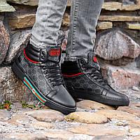 Мужские Кожаные Кроссовки в стиле Gucci   Высокое Качество!, фото 1