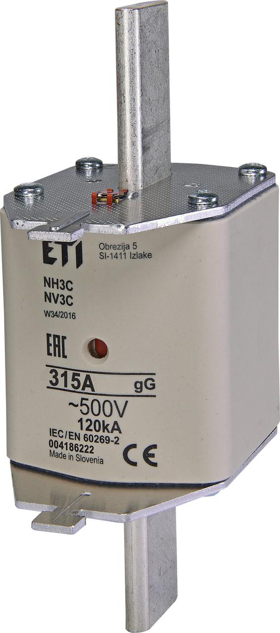 Предохранитель ETI NH-3C gL/gG 315A 500V KOMBI 120kA 4186222 ножевой универсальный
