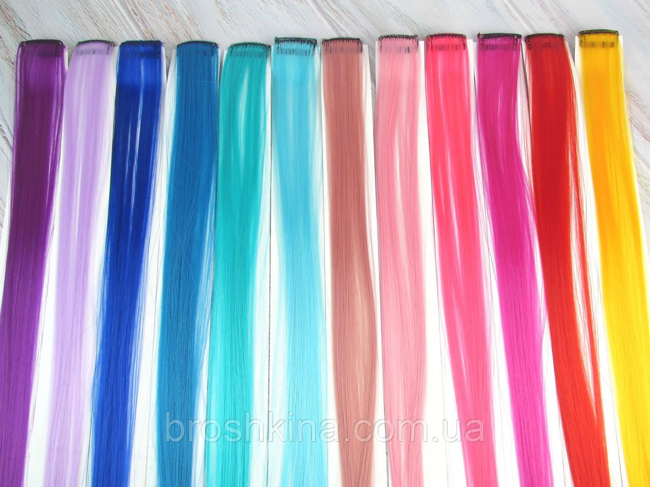 Цветные пряди на заколках клипсах набор 12 штук