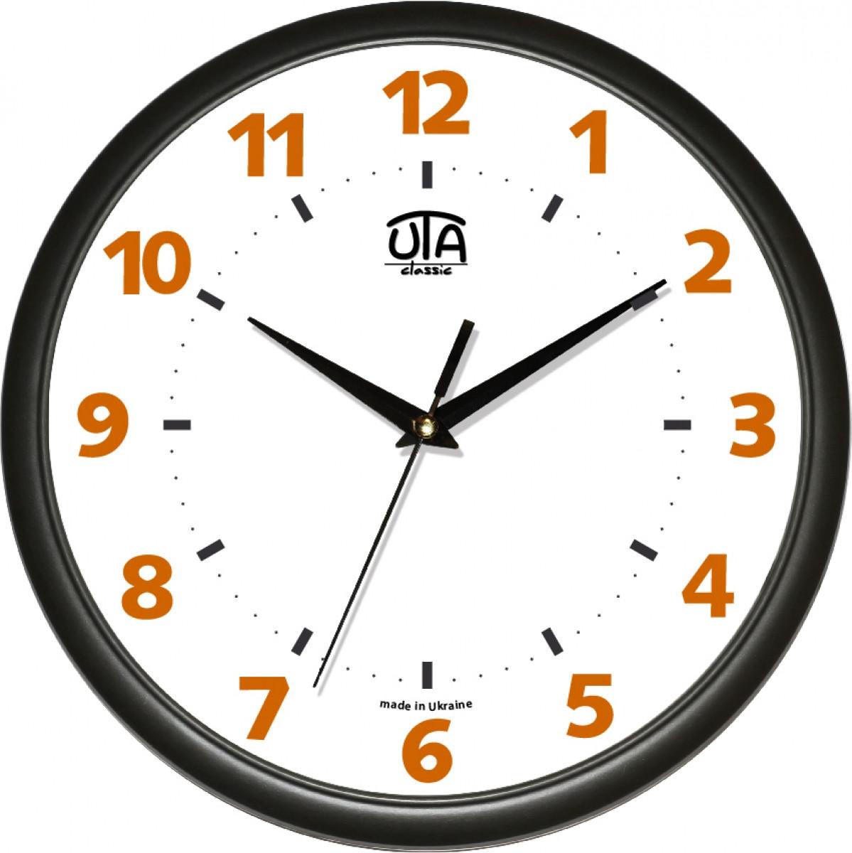 Часы настенные UTA Сlassic 300 х 300 х 45 мм с чёрным ободом