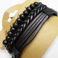 Браслеты фенечки кожаные набор 3 штуки на руку. Кожа, дерево, текстиль., фото 1