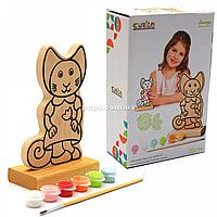 Набор для творчества - деревянная игра-раскраска Кошечка (с красками), 16 см (13845)