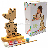Набор для творчества - деревянная игра-раскраска Лисенок (с красками), 16 см (13876)