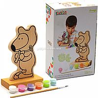 Набор для творчества - деревянная игра-раскраска Медвежонок (с красками), 16 см (13852)