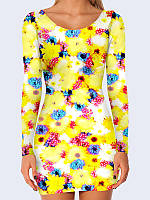 Женское 3D  Платье Ромашки