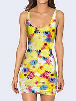 Женское 3D  Платье Ромашковое поле