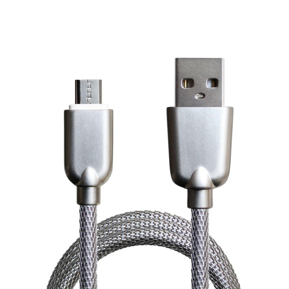 Кабель синхронізації Grand-X Metal MicroUSB Cable 2.1 A 1m Silver