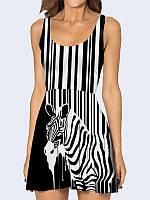 Женское 3D  Платье Черно-белая зебра