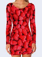 Женское 3D  Платье Ягоды малины
