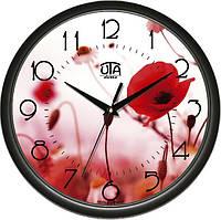 Часы настенные UTA Сlassic 300 х 300 х 45 мм с чёрным ободом с изображением цветущих маков