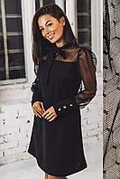 Черное платье с шифоновыми рукавами