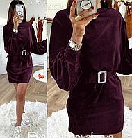 Женское платье с длинными рукавами из велюра, фото 1