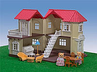 Домик вилла для зверят Happy Family с мебелью, аксессуарами и светом, фото 1