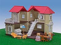 Домик вилла для зверят Happy Family с мебелью, аксессуарами и светом
