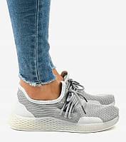 Серые женские кроссовки с трикотажным верхом