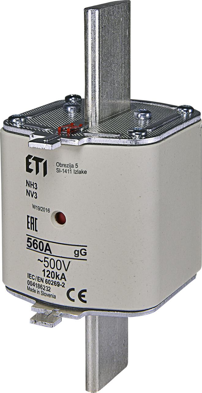 Предохранитель ETI NH-3 gL/gG 560A 500V KOMBI 120kA 4186232 ножевой универсальный