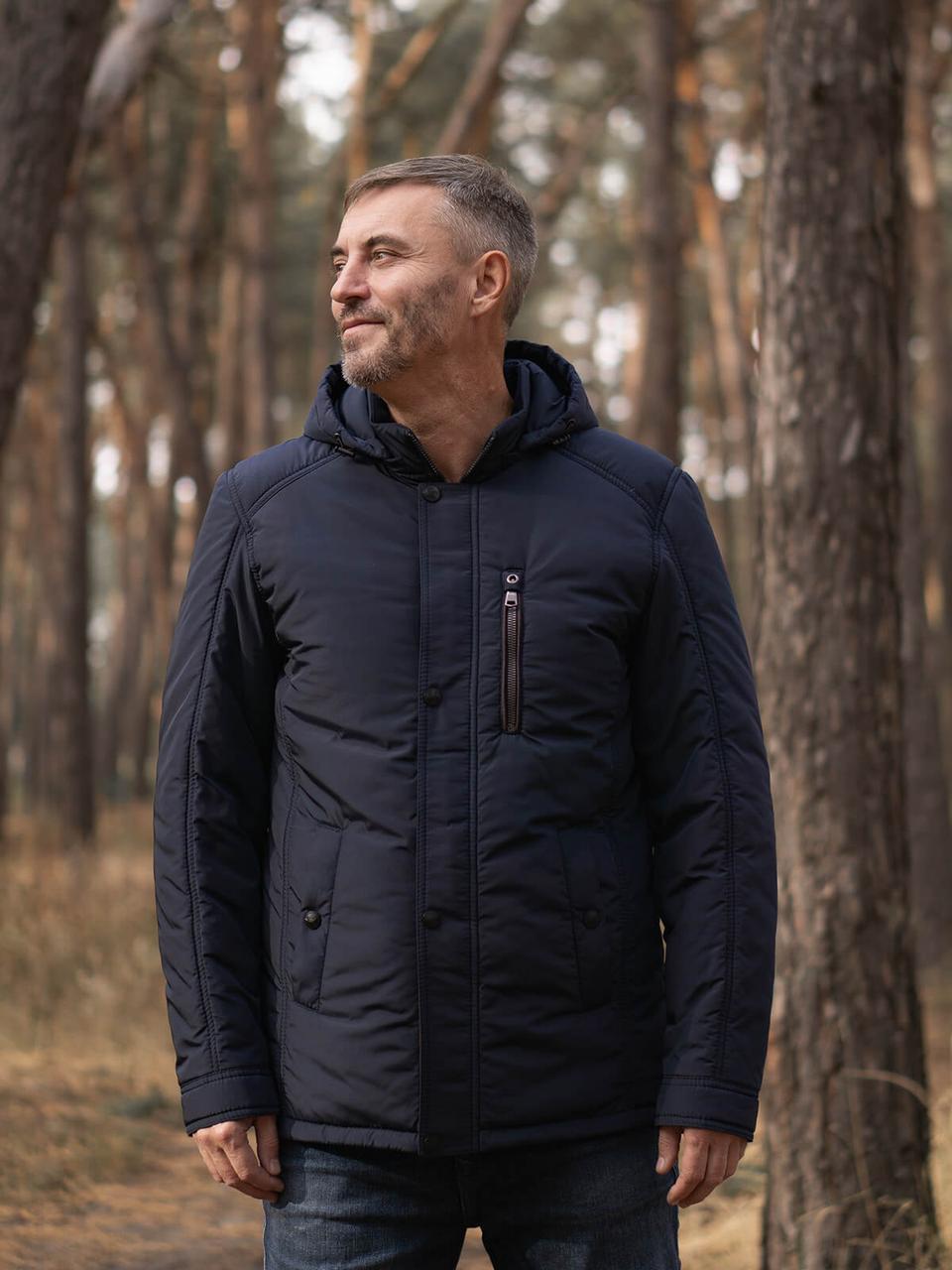 Мужская темно-синяя демисезонная куртка KM-3.1 с капюшоном и карманами на кнопке