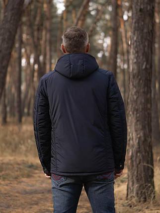 Мужская темно-синяя демисезонная куртка KM-3.1 с капюшоном и карманами на кнопке, фото 2