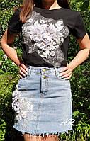 Юбочный женский костюм с юбкой джинс и футболкой с аппликацией 79KO469, фото 1