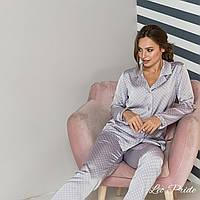 Женская шелковая пижама со штанами и рубашкой 64OD79, фото 1