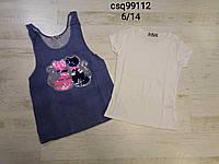 Комплект футболка+майка под джинс для девочек 6/14 лет