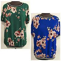 Блуза спортивного стиля трикотажная  в цветочный принт двух цветов р.48-52 код 1268М