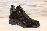 Ботинки женские черные лаковые Д637