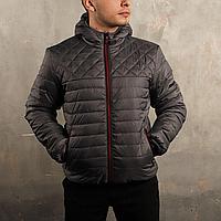 Куртка короткая демисезонная стеганая мужская серая ромб/полоса