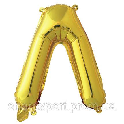 Шар с клапаном (16''/41 см) Мини-буква, Л, Золото, в упаковке 1 шт., фото 2
