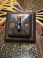 Фарфоровый ретро выключатель поворотный перекрестный для скрытого монтажа,  Бронза
