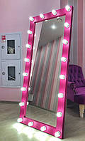Зеркало гримерное Розовое с лампами 1800х800