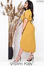 Асимметричное платье - рубашка в больших размерах длиной миди с коротким рукавом 1ba530, фото 3