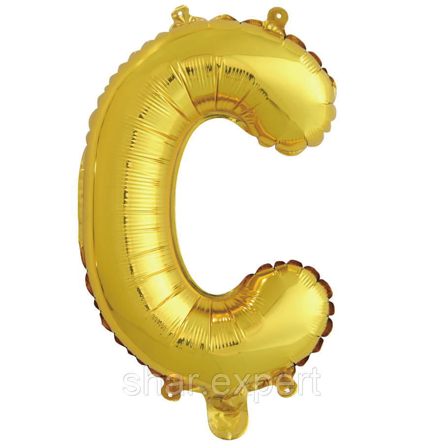 """Куля з клапаном (16""""/41 см) Міні-буква, З, Золото, 1 шт. в упаковці"""