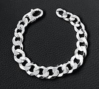 Серебряный мужской браслет панцирный панцирь с гранями италия, фото 1