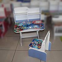 """Парта+стілець шкільна """"Біблейд"""" 69*45см (Білий з блакитним)"""