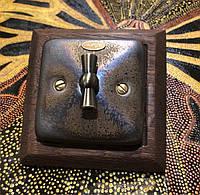 Фарфоровый ретро выключатель поворотный 2-клавишный,  для скрытого монтажа, Бронза
