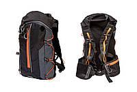 Рюкзак QIJIAN BAGS B-300 44х26х9см чорно-сіро-помаранчевий
