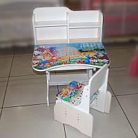 """Парта+стілець шкільна """"Качині історії"""" 69*45см (Бежевий з білим)"""