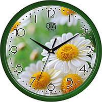 Часы настенные UTA Сlassic 300 х 300 х 45 мм с зелёным ободом и изображением садовой ромашки