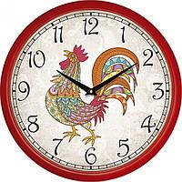 Часы настенные UTA Сlassic 300 х 300 х 45 мм с красным огненным петухом