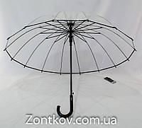Прозрачный зонтик трость с чехлом на 16 карбоновых спиц., фото 1