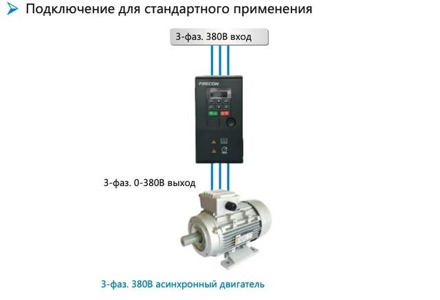 Підключення для стандартного застосування FR150 - схема 1ф та 3ф