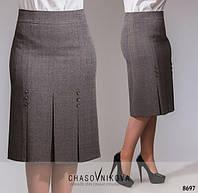 Красивая прямая класическая женская юбка супер-ботал со складками спереди р.50-64.  Арт-1570/10